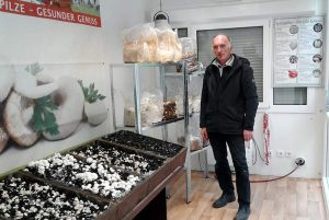 BDC-Pilzbotschafter Peter Marseille im fertig eingerichteten Info-Pavillon, gut sind die verschiedenen Kulturstadien bei den Champignons zu erkennen.
