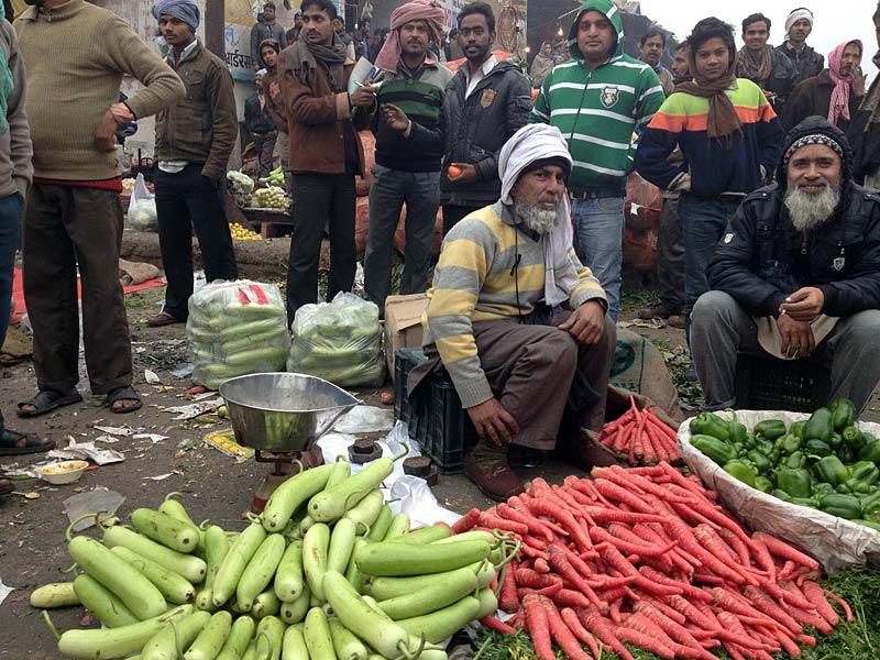 Ungewöhnliche Gemüsearten wie die roten Möhren auf einem lokalen Gemüsemarkt