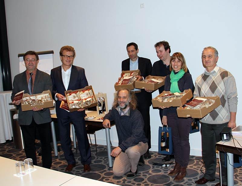 Die Akteure vom Hessischen Pilztag 2013 (von links nach rechts): Ulrich Groos, Dr. Hermann Eckert, Jürgen Kynast, Ulrich Kilburg, Arjan Heeren, Dr. Adrienn Somos-Nagy und József Pusztai
