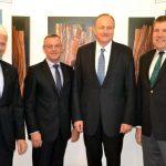 Spitzengespräch zwischen ZVG und DBV, von links nach rechts: ZVG-Vizepräsident Hartmut Weimann, ZVG-Präsident Jürgen Mertz, DBV-Präsident Joachim Rukwied und ZVG-Vizepräsident Andreas Lohff.