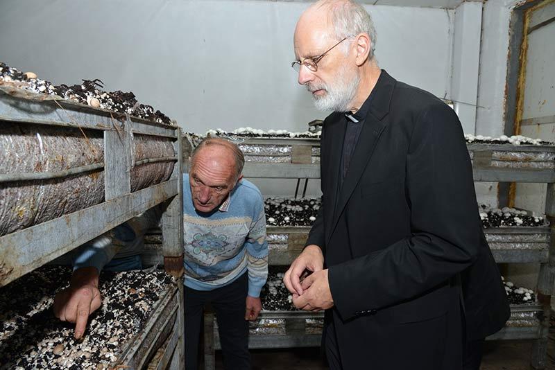 Peter Marseille und Weihbischof Ansgar Puff schauen sich eine Kultur mit braunen Champignons ganz genau an.