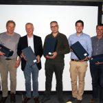 Die Akteure des Pilztages, von links nach rechts: Jürgen Kynast(D), Torsten Jonas (D), Michael Böging (D), Geert-Peter de Rijk(NL), Patrick Häcki(CH), Sepp Häcki(CH) und Ulrich Groos (D).